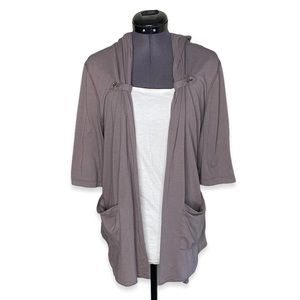 Gentle Fawn Brown Open Front Hooded Cardigan